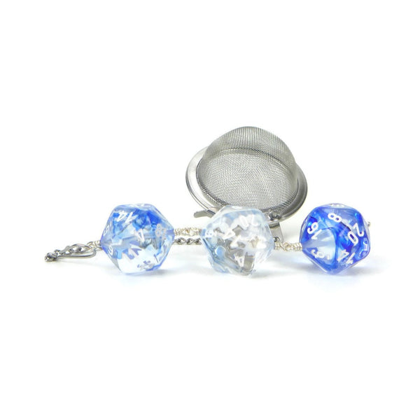 Tea Infuser with Bright Blue and Clear Nebula Dice