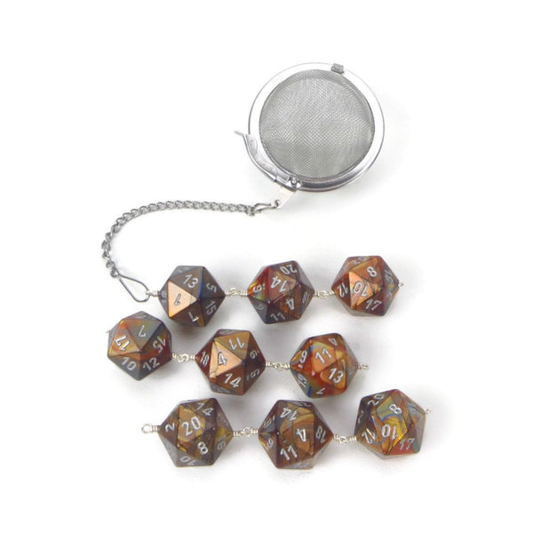 Tea Infuser with Copper, Silver and Gold Swirled Dice Trio