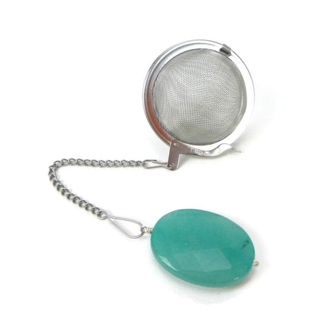 Tea Infuser with Teal Oval Charm