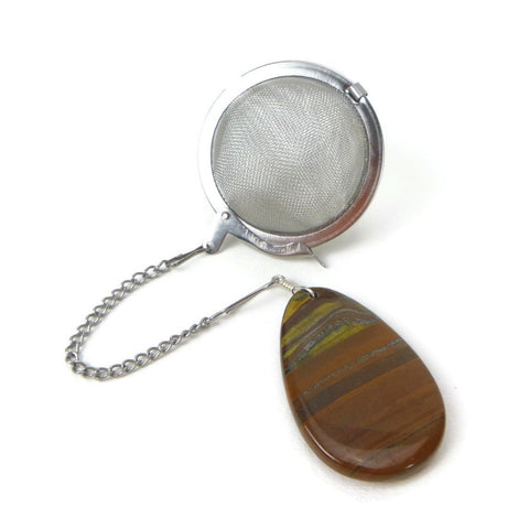Tea Infuser with Tiger's Eye Teardrop Charm