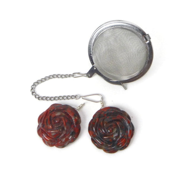 Tea Infuser with Black and Red Rose Charm