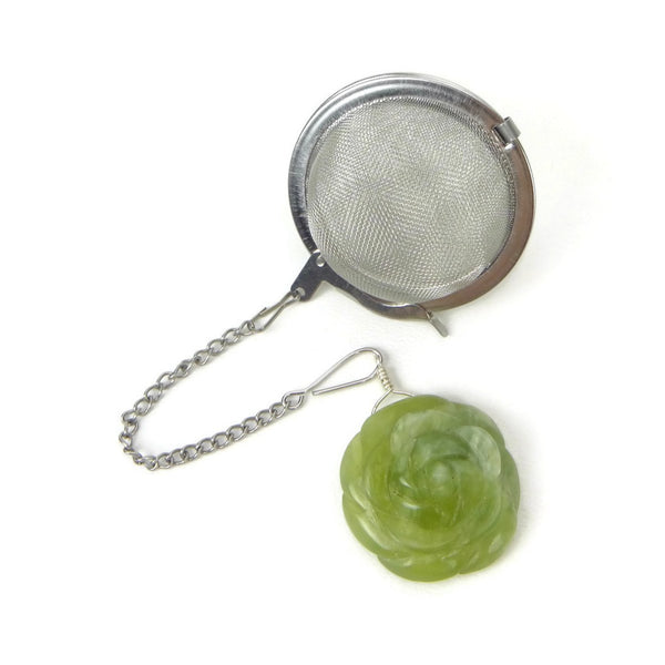 Tea Infuser with Light Green Rose Charm