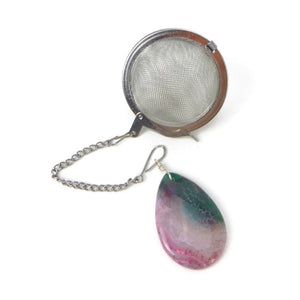 Tea Infuser with Green and Pink Agate Charm