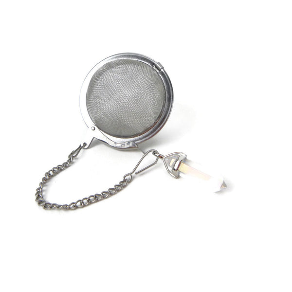 Tea Infuser with Clear Rainbow Crystal Point
