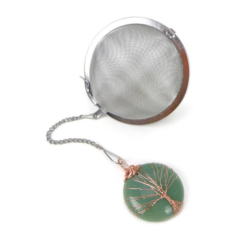 3 Inch Tea Infuser Ball with Aventurine Wired Tree Charm