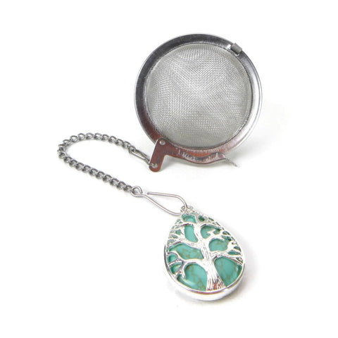 Tea Infuser with Turquoise Howlite and Silver Tree Charm