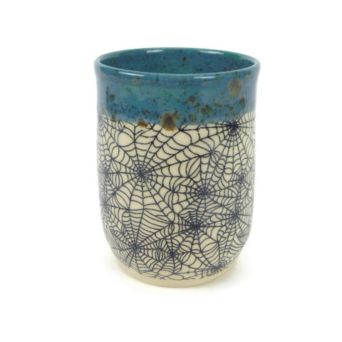 Blue and Brown Speckled Spiderweb Cup