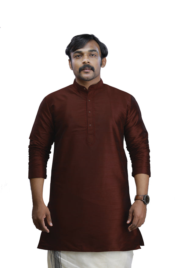 Mens Mahogany Art Silk - Slim Fit Kurta  -  KAKB 406 H