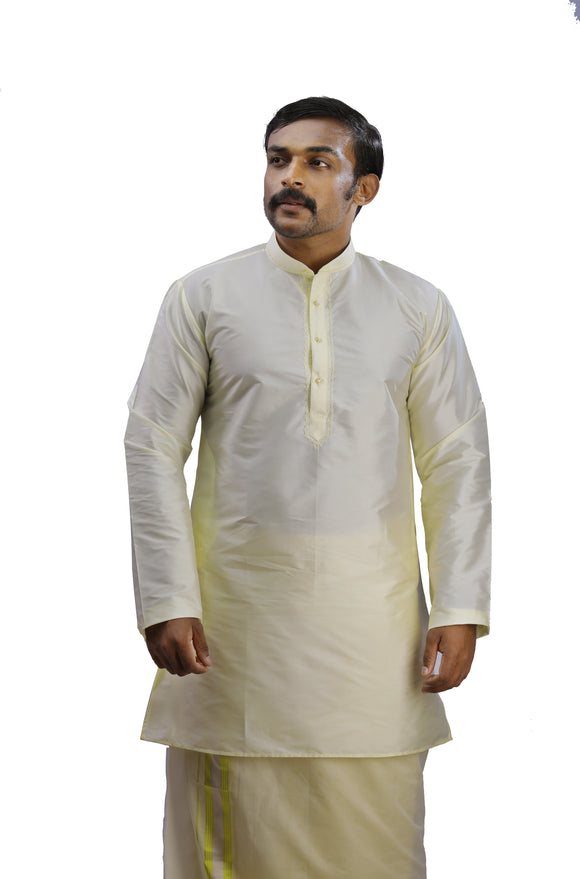 Men's Cream Color Art Silk - Slim Fit Kurta - KAKA 04