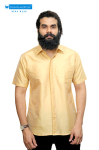 Men's Pale Gold Party Half Sleeve Art Silk Shirt