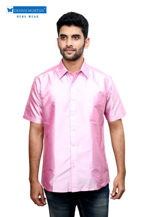 72b8ac587ea63 Men s Baby Pink Party Half Sleeve Art Silk Shirt