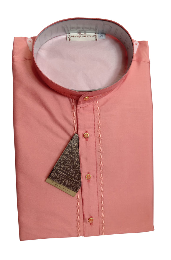 Men's Dark Salmon Color Art Silk Kurta - Slim Fit  - KAKA 1546 C