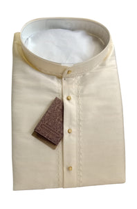Men's Cream Color Art Silk Kurta - Slim Fit  - KAKB 04