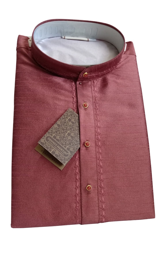 Men's Dark Indian Red Color Art Silk Kurta - Slim Fit  - KAKB 1921