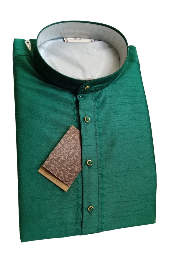 Men's Dark Peacock Green Color Art Silk Kurta - Slim Fit  -  KAKB 998 D