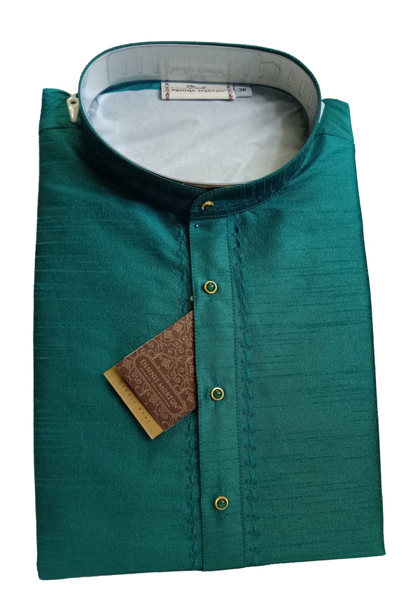 Men's Dark Pine Color Art Silk Kurta - Slim Fit  -  KAKB 1632A