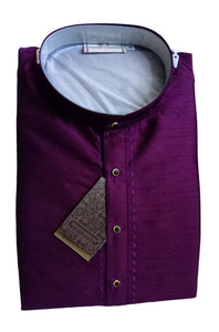 Men's Dark Purple Color Art Silk Kurta - Slim Fit  -  KAKB 420D