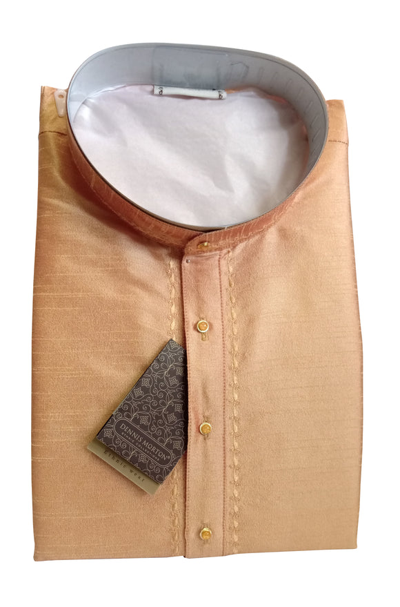Men's Golden Color Art Silk Kurta - Slim Fit  -  KAKB 247 A