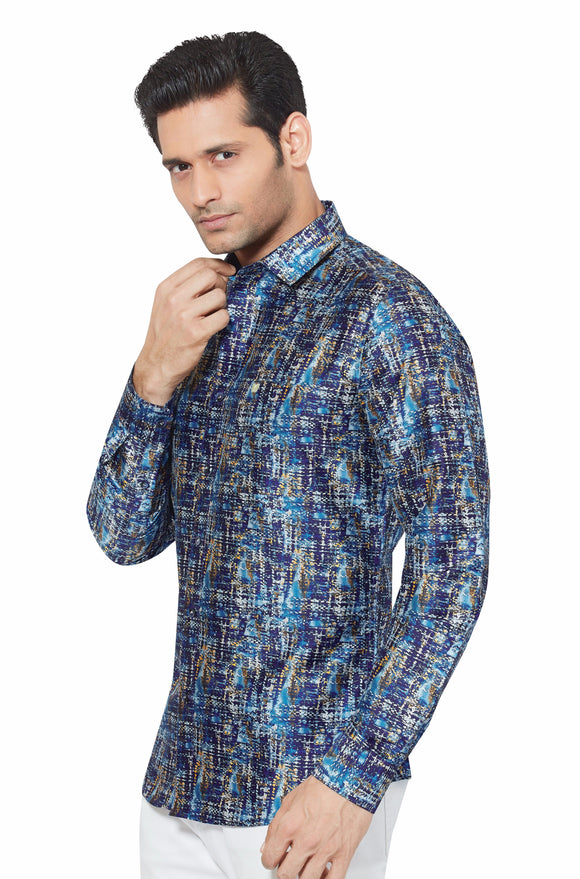 Printed Partywear Art Silk Shirt - PRARS 09
