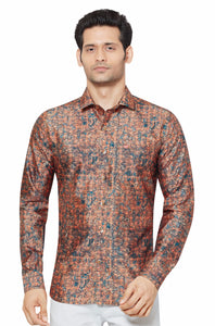 Printed Partywear Art Silk Shirt - PRARS 17