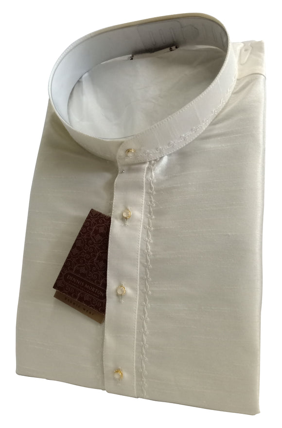 Men's Light Cream Art Silk Kurta - Slim Fit  -  KAKB 04C
