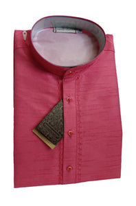Men's Light Ruby Art Silk Kurta - Slim Fit  -  KAKB 280 C