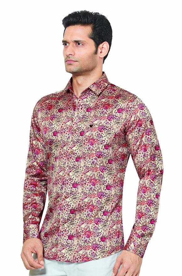 Printed Partywear Art Silk Shirt - PRARS 12