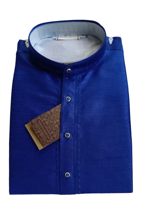 Men's Royal Blue Color Art Silk Kurta - Slim Fit  -   KAKB 193 C