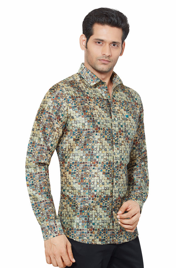 Printed Partywear Art Silk Shirt - PRARS 15