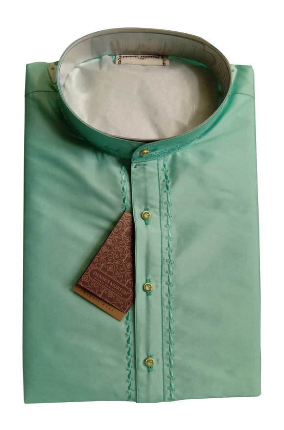 Men's Aquamarine Color Art Silk Kurta - Slim Fit  -  KAKA 1639