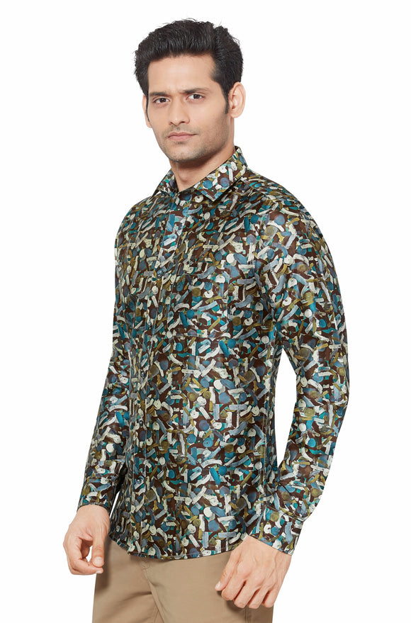 Printed Partywear Art Silk Shirt - PRARS 06