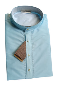 Men's Ice Blue Color Art Silk Kurta - Slim Fit  -  KAKA 332