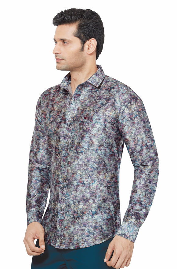 Printed Partywear Art Silk Shirt - PRARS 08