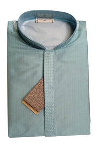Men's Dark Baby Blue Color Bamboo Silk Kurta - Slim Fit  - ASPK 419 D