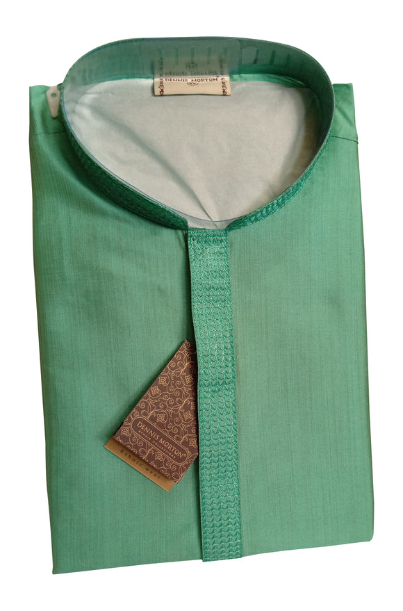 Men's Mint Color Bamboo Silk Kurta - Slim Fit  - ASPK 419 E