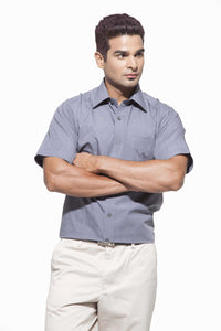 Men's Grey  Formal Full Sleeve Cotton Shirt