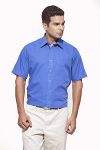 Men's Ink Blue Formal Half Sleeve Cotton Shirt