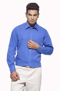 Men's Ink Blue Formal Full Sleeve Cotton Shirt