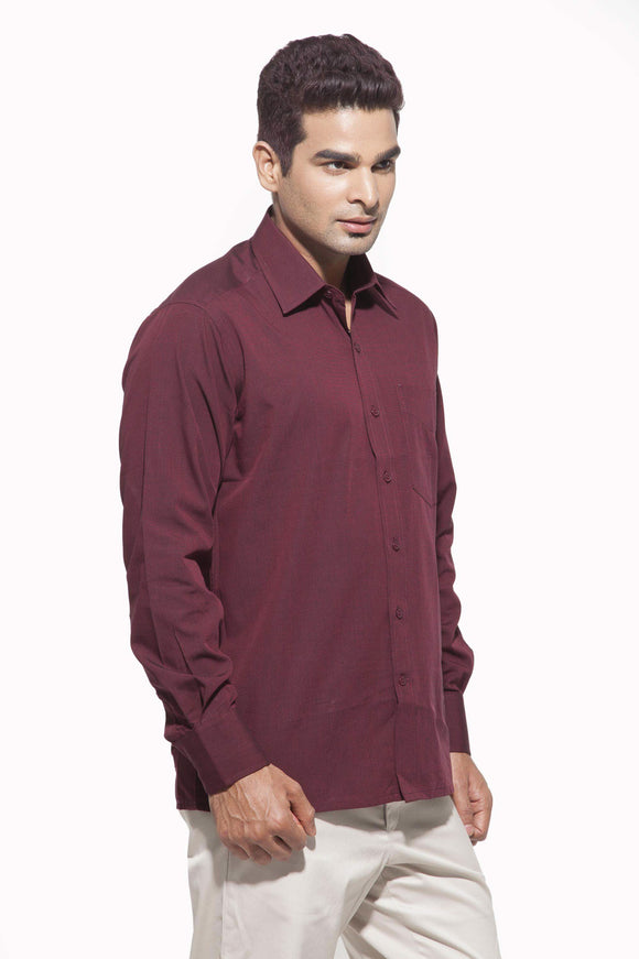 Men's Dark Maroon  Formal Full Sleeve Cotton Shirt