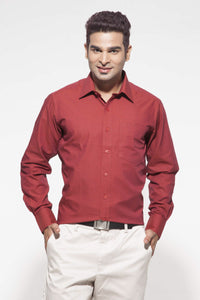 Men's Maroon Formal Full Sleeve Cotton Shirt