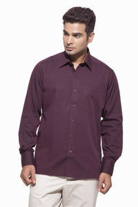 Men's Chocolate Brown Formal Full Sleeve Cotton Shirt