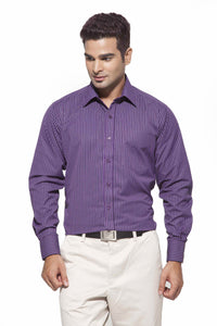 Men's Purple & Violet Stripes Formal Full Sleeve poly Viscose Stripes
