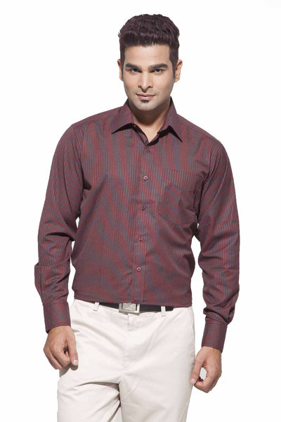 Men's Maroon & Black Stripes Formal Full Sleeve poly Viscose Stripes