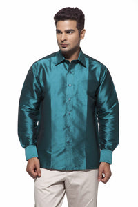 Men's Dark Green Party Full Sleeve Art Silk