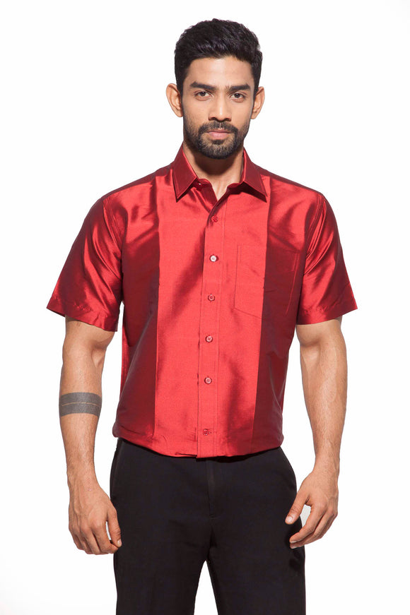Men's Maroon Party Full Sleeve Art Silk Shirt