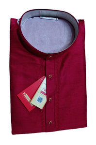 Men's Burgundy Color Party Dupioni Silk Kurta LKS 02 292