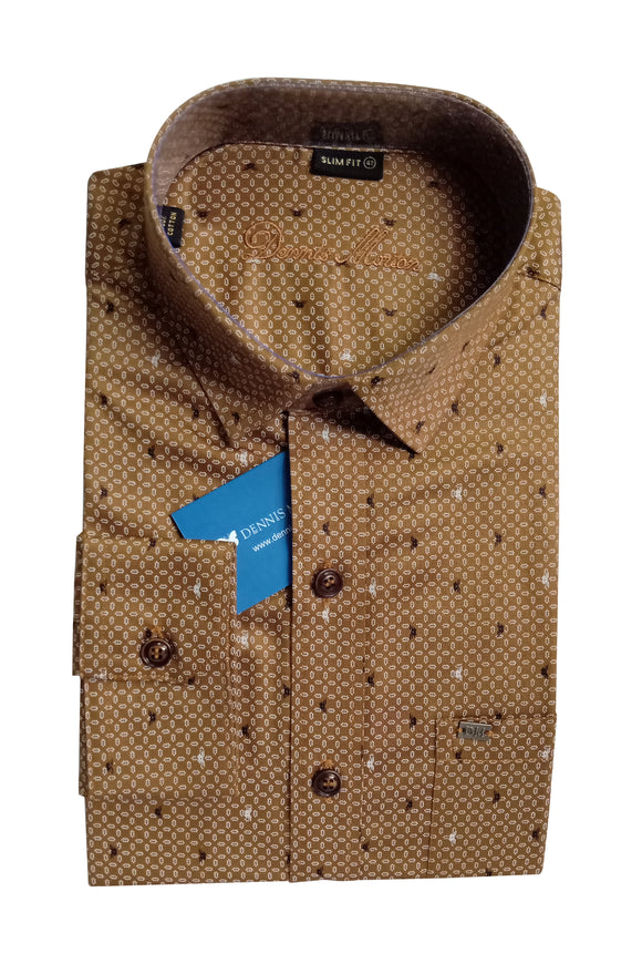 Men's Cutaway Collar Cotton Printed Shirt - DCF 6067 A