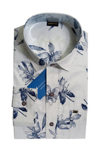 Men's Cutaway Collar Cotton Printed Shirt - DCF 6069 A