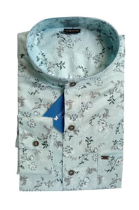 Men's Chinese Collar Cotton Printed Shirt - DCF  6070 B