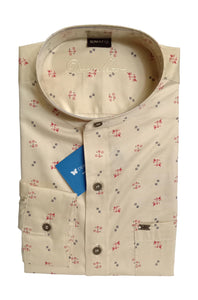 Men's Chinese Collar Cotton Printed Shirt - DCF  6075 A